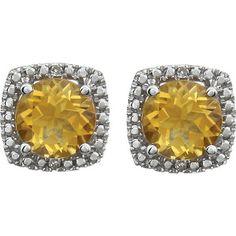 6mm Citrine & .015 ct tw Diamond Earrings-Sterling Silver Center- 6mm Citrine Accent- 015 ct tw Round Diamond Color-H Round Diamond Clarity- I3