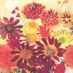 IHR Bunch of Fall Flowers Autumn Floral Bouquet Printed 3-Ply Paper Luncheon Napkins Wholesale L583900