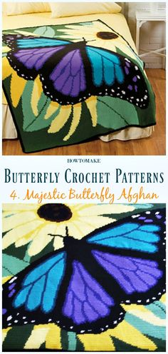 Majestic Butterfly Afghan Free Crochet Pattern - Free #Butterfly; #Crochet; Patterns