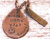 Hand Stamped Personalized Soccer Mom Necklace - Soccer Moms Kick Grass