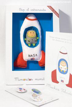 muñeco pack Bup El Astronauta cohete espacio mundo luna fieltro juego niños oficios azul verde rojo blanco