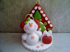 A sweet little snowman scene to hang from your tree!  This is an original design that has been handcrafted from polymer clay. The ornament measures approximately 2 1/2 tall and will hang from a jute hanger. All parts have been secured with liquid polymer for increased strength.    Not a toy...not suitable for young children.