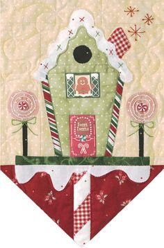 .de los angeles de patchwork estandarte casita de navidad