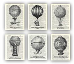 Montgolfieres  Anciennes Illustrations de PrintLand sur DaWanda.com