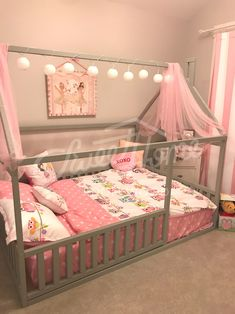 Grey pink and white girls room interior ideas little princess room bed with canopy children bed toddler bed baby toy room house frame bed baby bed Montessori play tent home bed nursery crib ChildrensBeds # Little Girl Bedrooms, Big Girl Rooms, Toddler Bedroom Ideas, Little Girl Beds, Bed For Girls Room, Toddler Girl Rooms, Little Girls Room Decorating Ideas Toddler, Toddler Canopy Bed, Kid Bedrooms