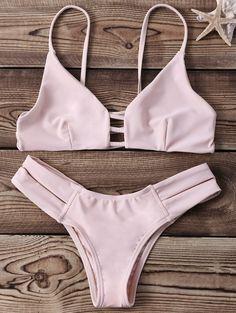 Strappy Push Up Bikini Set - YELLOWISH PINK M