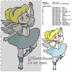 Cinderella dancer princess Disney free cross stitch pattern 100x175 14 colors