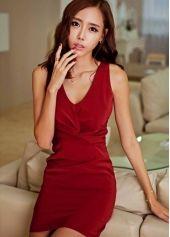 Red Super Slim Sleeveless V-Neck Draped Korean Fashion Mini Dress Discount Womens Clothing, Fashion Company, Korean Fashion, Bodycon Dress, V Neck, Slim, Red, Mini Dresses, Clothes