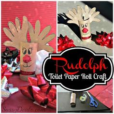 Have your kids make this reindeer toilet paper roll craft using handprints and a marker! Perfect Rudolph art project for Christmas time.