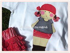 Conjunto para niña, bordado a mano. Modelo Pirata niña