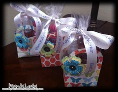 Gift Bags made with the CTMH Art Philosophy Cricut Cartridge to hold Bath & Body Works goodies.