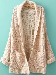 Choies Casual Beige Lapel Pocket Detail Open Front Long Sleeve Knit Cardigan New Cardigan Beige, Long Knit Cardigan, Oversized Cardigan, Sweater Cardigan, Cocoon Cardigan, Comfy Sweater, Cream Sweater, Look Fashion, Autumn Fashion