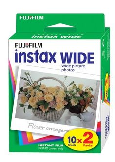 The speedy Fujifilm Instax Wide 800 ISO yields bright colors and a glossy finish. For use with Fuji Instax 200 & 210 cameras.