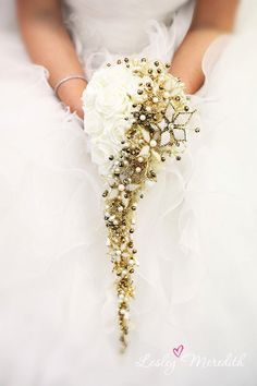 Swarovski Goldie Shower bouquet. $1,568.00, via Etsy.