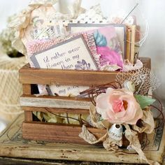Gypsy Moments can be big or small and our little vintage crate is the perfect place to store those special moments that can be captured and tucked away. Fill the crate with our ATC size file folders and add a thought a day, a week or anytime. #gypsymoments #vintagecrate #minialbum #quotes #tatteredangels #cute #photos #memories #paper #vintage #canvascorpbrands