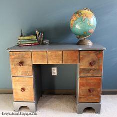 Two toned vintage desk makeover for a Rustic-industrial tween/teen bedroom