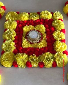 50 Most Beautiful Flower Rangoli Designs (ideas) that you can make during any occasion on the living room or courtyard floors. Welcome Home Decorations, Diwali Decoration Items, Thali Decoration Ideas, Ganpati Decoration At Home, Diwali Decorations At Home, Festival Decorations, Flower Decorations, Gauri Decoration, Easy Rangoli Designs Videos