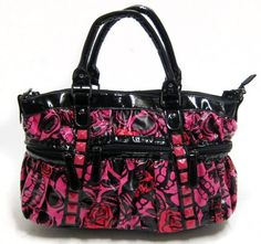 Iron+Fist+Muerte+Punk+Princess+Skull+Handbag+Purse+–+Pink+/+Red