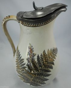 Antique Jug: Fern & Bluebell 8.5 Inches (loose lid)