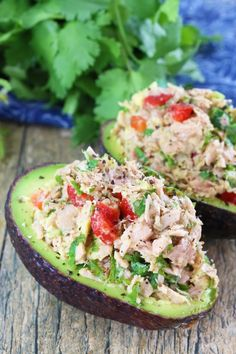 Healthy Tuna Stuffed Avocado from The Stay At Home Chef. This is a quick and easy healthy lunch or dinner that is both flavorful and filling! Dog Recipes, Raw Food Recipes, Dinner Recipes, Healthy Recipes, Easy Cooking, Healthy Cooking, Healthy Eating, Healthy Tuna, Healthy Meals For Two