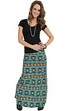 Jody Women's Turquoise & Gold Navajo Print Maxi Skirt  #tonylamamom and #cavenders