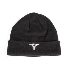 100% acrylic knit cuffed beanie in black with Firefly symbol embroidery