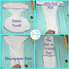 4 prefold folds for cloth diapering newbies. Jelly roll is best for newborns!