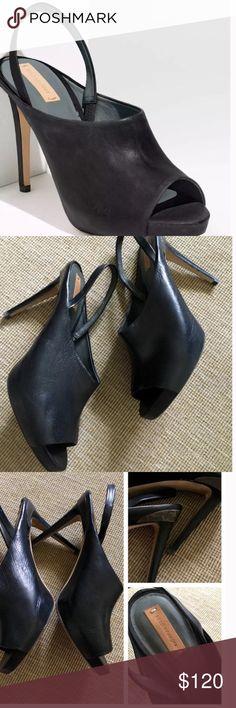 Reed Krakoff black sling back heels Sz 10 Sz 40 black leather peep toe sling back heels Reed Krakoff Shoes Heels
