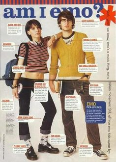 "FTA: ""Emo, as Defined by Seventeen Magazine in 1999"". Yes, very yes I dressed like the girl...and sometimes dressed like the guy. (via euphoriatakehold)"