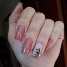 Dicas para unhas lindas e bem decoradas. Fancy Nails, Pink Nails, Cute Nails, Pretty Nails, Square Nail Designs, Nail Art Designs, Manicure E Pedicure, Square Nails, Flower Nails