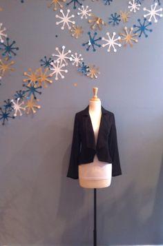 Black Tuxedo Blazer with Sheer Sleeves by Ya $62.00