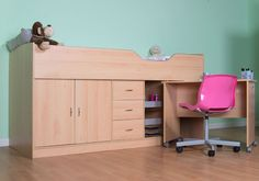 Midi Childrens cabin bed with stand alone desk Childrens Cabin Beds, Childrens Desk, Box Room Beds, Baby Girl Dresses, Space Saving, Bunk Beds, Corner Desk, Wolf, Bedroom
