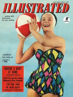 The vibrant cover of Illustrated magazine from August, 1957 (love her playful swimsuit! Vintage Swim, Mode Vintage, Vintage Men, Vintage Fashion, 1950s Fashion, Moda Retro, Nostalgia, Surfer Dude, Vintage Couture