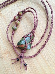 Unakite Happiness Amulet Hemp Wrapped Necklace // Unakite Crystal Hippie Boho Tassel Brown Adjustable Hemp Cage Gemstone Macrame Necklace – Pin's Page Diy Jewelry Necklace, Hemp Jewelry, Macrame Necklace, Macrame Jewelry, Crystal Necklace, Jewelry Crafts, Handmade Jewelry, Hemp Necklace, Diy Necklace Stone