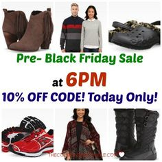 WOOHOO! The 6PM Pre-Black Friday Sale is here! Besides all the great deals, we also have a 10% off code for today only!  Click the link below to get all of the details ► http://www.thecouponingcouple.com/6-pm-pre-black-friday-sale-10-off-code-today-only/ #Coupons #Couponing #CouponCommunity  Visit us at http://www.thecouponingcouple.com for more great posts!
