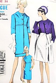 Mod 1960s Dress and Coat Pattern Vogue Special Design 6997 Empire Waist Straight Coat  In 2 Lengths Sleeveless Slim Empire Dress Bust 32 Vintage Sewing Pattern UNCUT