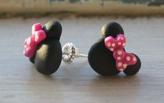 Mouse with Hot Pink Polka Dot Bows Earrings All Sterling Silver E007. $10.00, via Etsy.