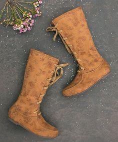 6cd4d8f1e5a Look at this  zulilyfind! Rust Adelyn Boot - Kids  zulilyfinds Floral  Marrom