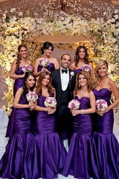 Groom with the Bridesmaids Photo ... #Purple #Bridesmaids #Dresses  ♥ How to organise your entire wedding easily ... https://itunes.apple.com/us/app/the-gold-wedding-planner/id498112599?ls=1=8 ♥ For more wedding inspiration ... http://pinterest.com/groomsandbrides/boards/ & magical wedding ideas.