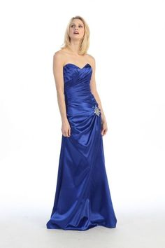 EUR2250RB ROYAL BLUE SWEETHEART STRAPLESS LONG SATIN DRESS FOR BRIDESMAID, PROM