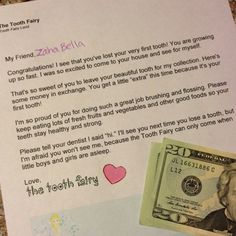 Tooth Fairy Letter for 1st tooth :) neat idea but 20 dollars I don't know!!! Lol