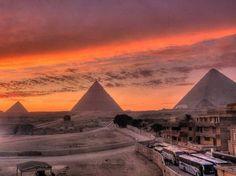Atardecer en Giza, Egipto.