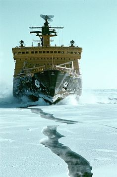 The nuclear icebreaker Arktika, the first surface ship to reach the North Pole, on August 17, 1977.