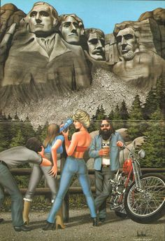 Mount Rushmore David Mann biker art centerfold poster removed from a vintage Easyriders motorcycle magazine, matted as shown, ready to insert into a 16 x 20 frame. Great vintage motorcycle artwork print to decorate your office, garage, basement, rec room, man cave & more! Makes a great gift! Size including mat: 16 x 20 Image area: approx. 10 x 15 8607ezrxmb