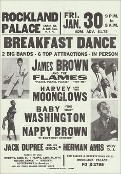 Classic Soul Concert Poster — James Brown & The Flames, Harvey & The Moonglows, Baby Washington & Nappy Brown