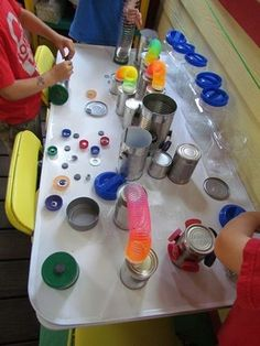 Tin Can and Magnet Discovery Table by Teach Preschool ≈ ≈ STEM for preschoolers.