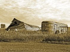 Old farm with horse trailer sepia photo 5x7