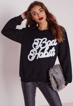 Missguided - Bad Habit Slogan Sweatshirt Black