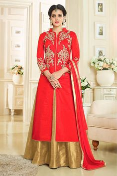 Buy Red Art Silk Umbrella Lehenga online from the wide collection of umbrella-lehenga. This Red colored umbrella-lehenga in Art Silk fabric goes well with any occasion. Shop online Designer umbrella-lehenga from cbazaar at the lowest price. Lehenga Choli Designs, Lehenga Style Saree, Net Lehenga, Bridal Lehenga Choli, Choli Dress, Lehenga Blouse, Designer Anarkali, Indian Dresses, Indian Outfits