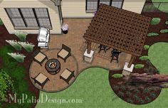 Beautiful Curvy Patio with Pergola - Patio Designs & Ideas